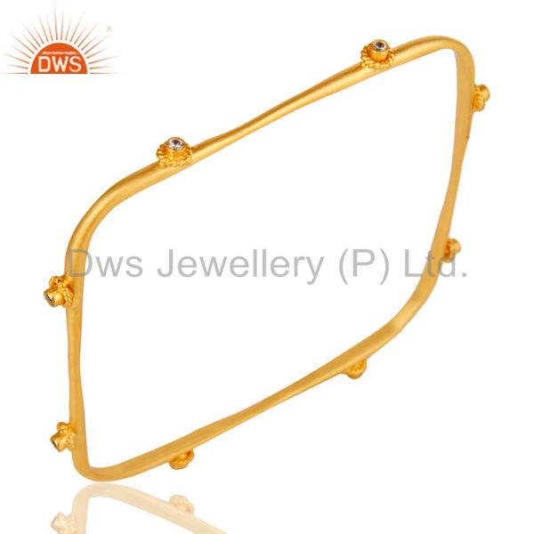 Supplier of Handmade square fashion design white zircon brass bangle 18k gold over