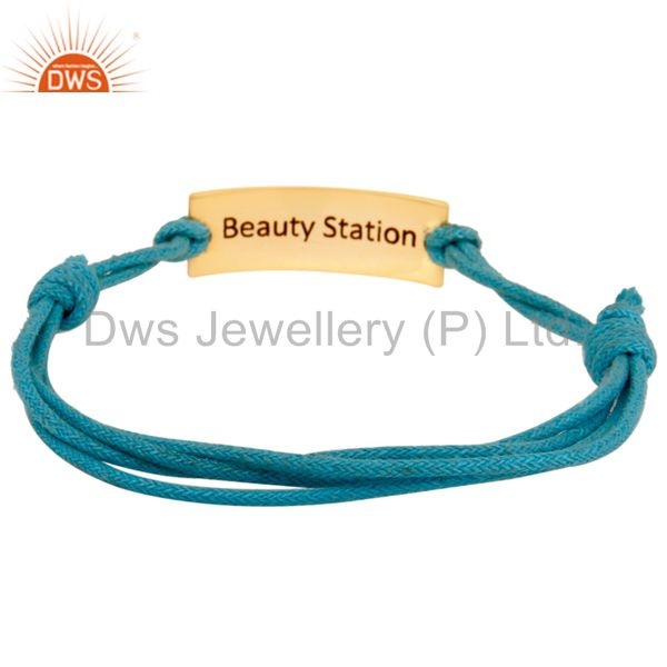 Wholesale Handmade 18K Gold Plated Wedding Love Symbol Cotton Dori Brass Macrame Bracelet
