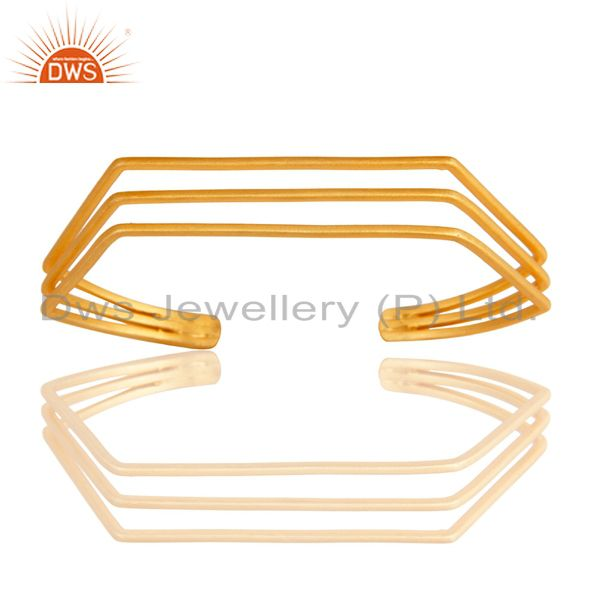 Exporter 18K Yellow Gold Plated Traditional Handmade Brass Wire Cuff Jewellery