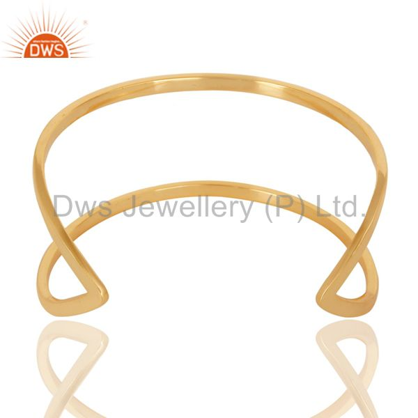 Exporter Traditional Handmade 14K Yellow Gold Plated Openable Brass Cuff Jewelry