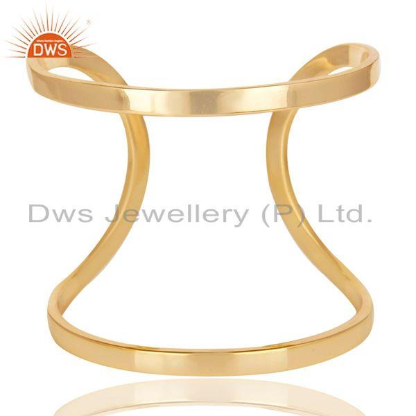 Exporter 14K Yellow Gold Plated Traditional Handmade Openable Brass Cuff Jewelry