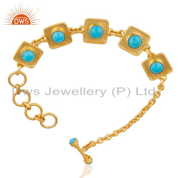 Exporter 14K Gold Plated Traditional Handmade Turquoise Adjustable Bracelet Made In Brass