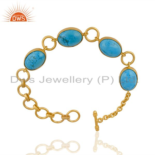 Exporter 14K Gold Plated Handmade Natural Turquoise Adjustable Bracelet Made In Brass