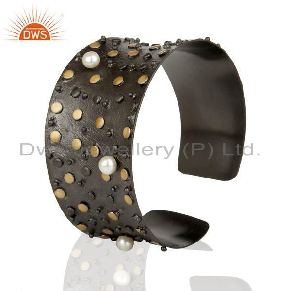 Exporter Top Quality Black Oxidized Fashion Style Pearl Openable Brass Cuff Made In Brass