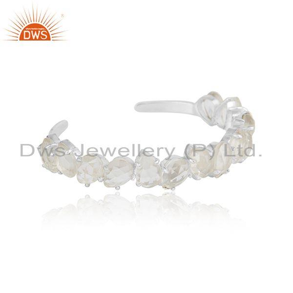 Designer 925 silver cuff with crystal quartz