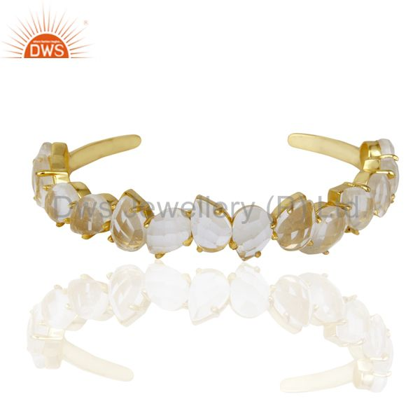 Exporter Beautiful 14K Gold Plated Prong Set Crystal Quartz Cuff Bracelet Made In Brass