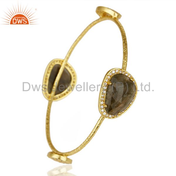 Supplier of Labrodorite free shape fashion bangle studded cz exclusive jewelry