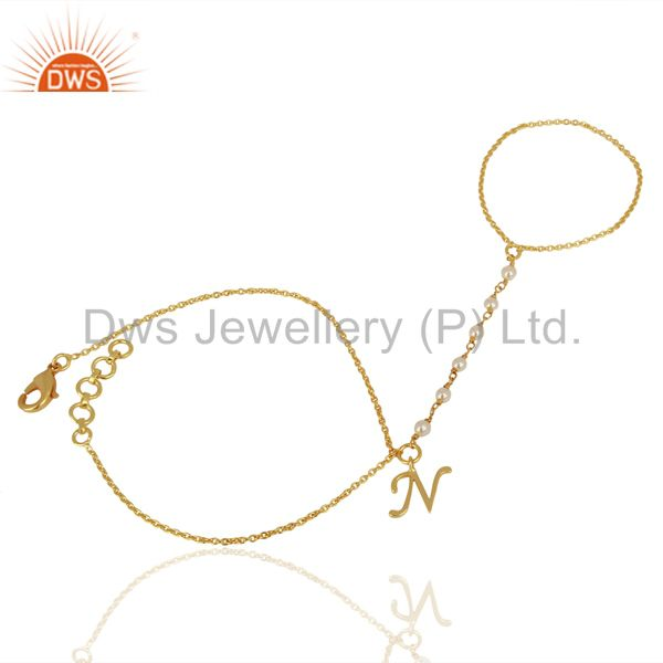Exporter Pearl Embedded N Initial Ring Bracelet Wholesale Fashion Different Jewelry
