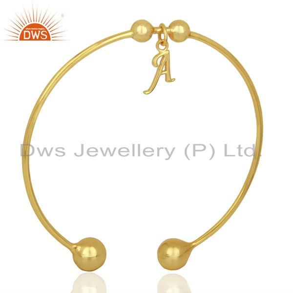 Exporter Gold Plated A Initial Openable Adjustable Wholesale Fashion Cuff Jewelry