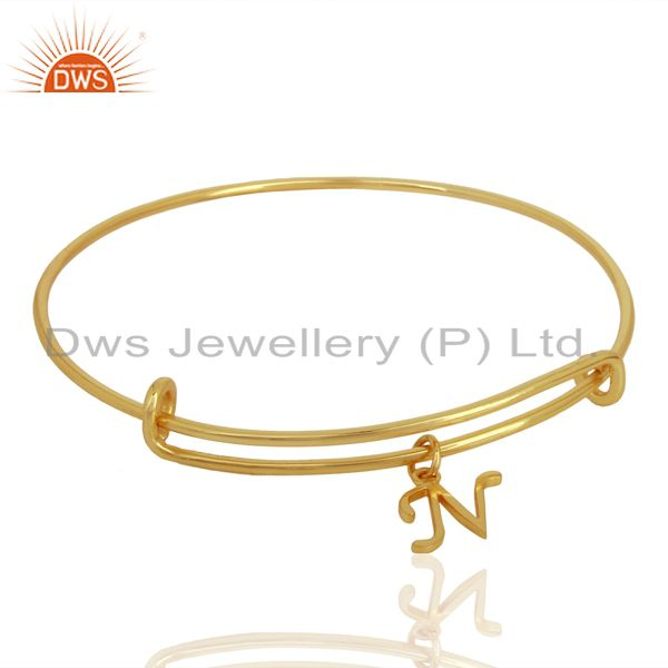 Exporter Gold Plated N Initial Openable Adjustable Wholesale Fashion Bracelet Jewelry