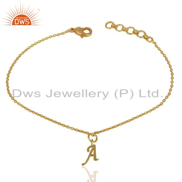 Manufacturer of Gold Plated A Initial Simple Chain Wholesale Fashion Bracelet Jewelry