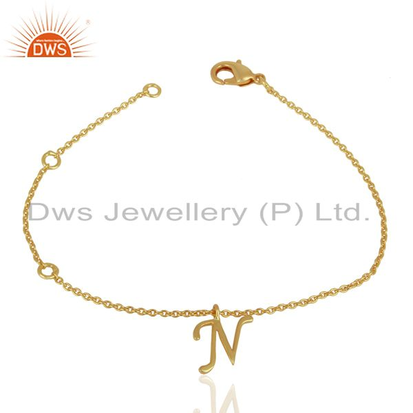 Exporter Gold Plated N Initial Simple Chain Wholesale Fashion Bracelet Jewelry