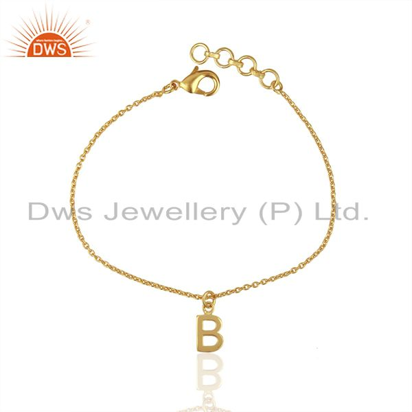 Exporter Gold Plated B Initial Simple Chain Wholesale Fashion Bracelet Jewelry