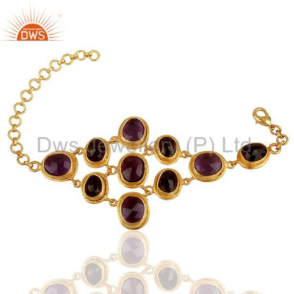 Exporter Handmade Gold Plated Brass Fashion Gemstone Bracelet Manufacturers