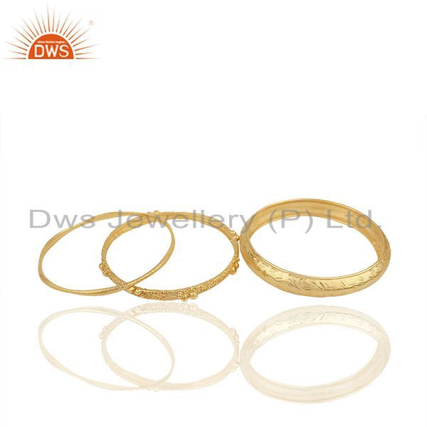Supplier of Handmade 18k gold plated brass fashion cz three bangle set jewelry