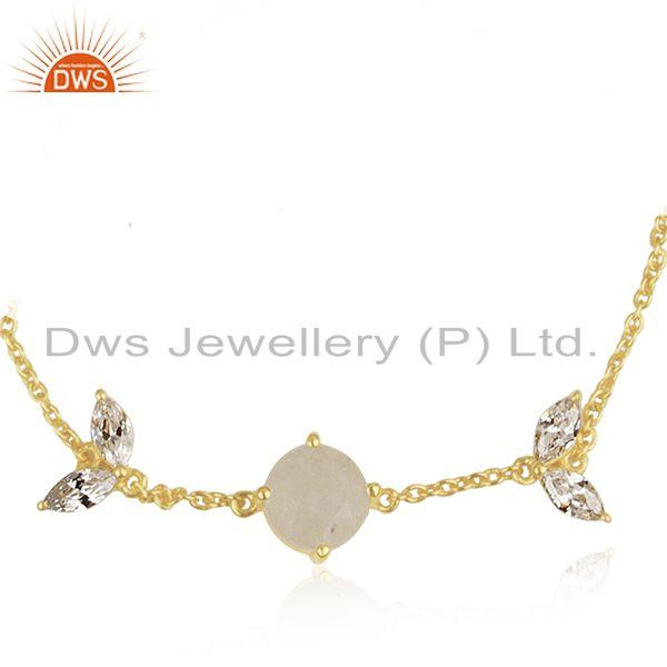Exporter Gold Plated Brass Rainbow Moonstone Chan Link Fashion Bracelet Wholesale