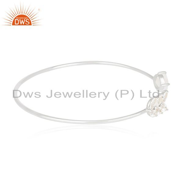 Exporter Fine Silver Plated Zircon and Moonstone Brass Cuff Bracelet Manufacturer India