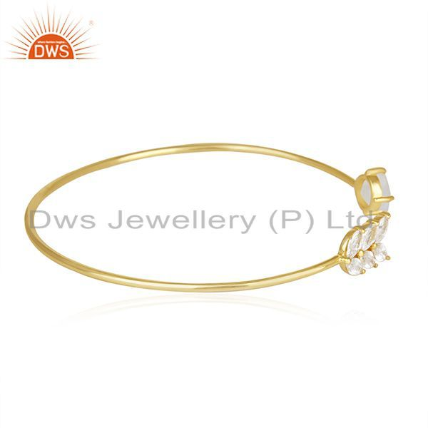 Exporter Gold Plated Brass Fashion Rainbow Moonstone Cuff bracelet Wholesale Supplier