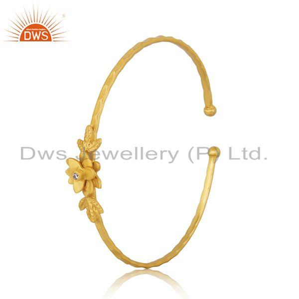 Exporter Handcrafted 18k Gold Plated Brass Fashion White Zircon Cuff Bangle Manufacturer