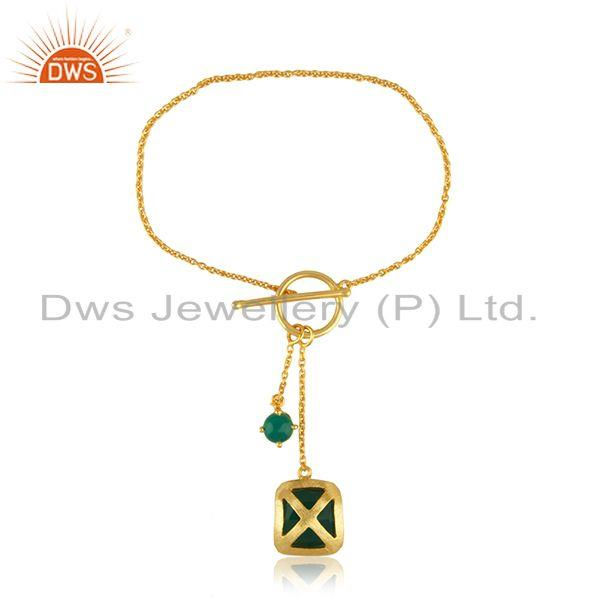 Exporter Designer Brass Fashion Yellow GOld Plated Gemstone Chain Bracelet Wholesale