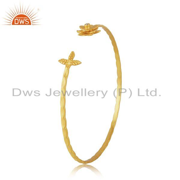 Exporter White Zircon Yellow Gold Plated Brass Fashion Cuff Bangle Manufacturer