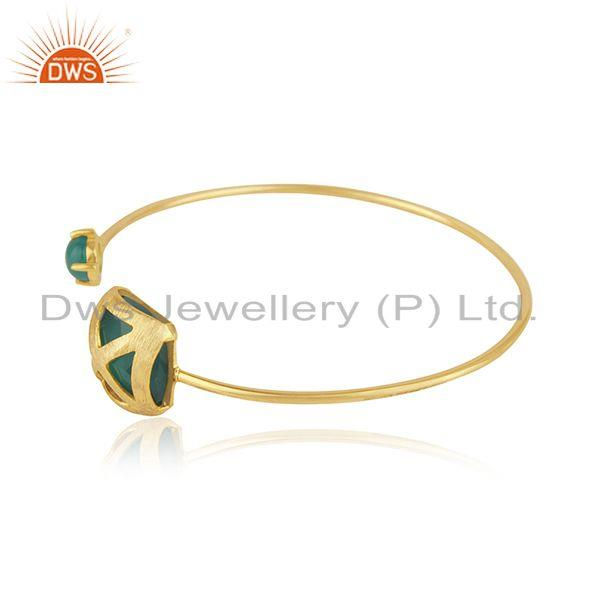 Exporter Green Onyx Gemstone Gold Plated Brass Fashion Cuff Bangle Wholesaler