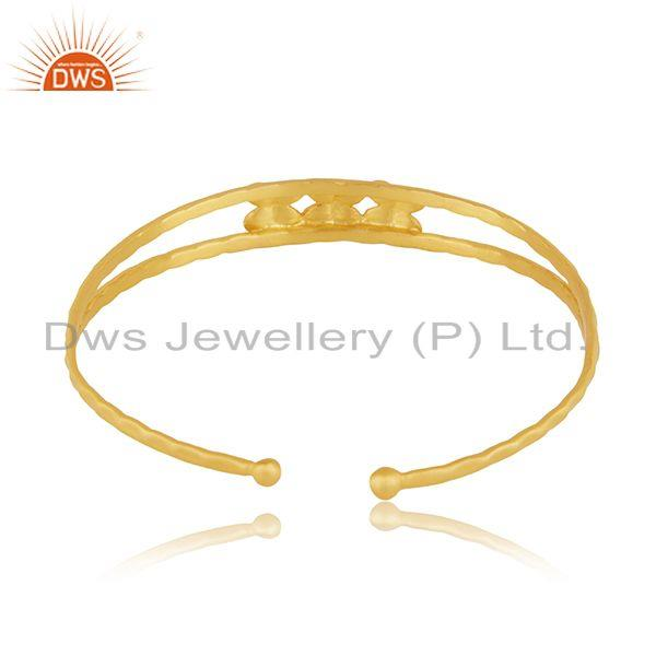 Exporter Floral Yellow Gold Plated Brass Cuff Bangle Bracelet Jewelry
