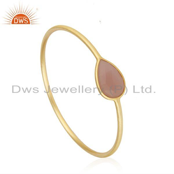 Supplier of Gold plated brass rose chalcedony gemstone bangle manufacturer