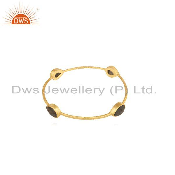 Supplier of Labradorite gemstone gold plated brass fashion bangle for womens