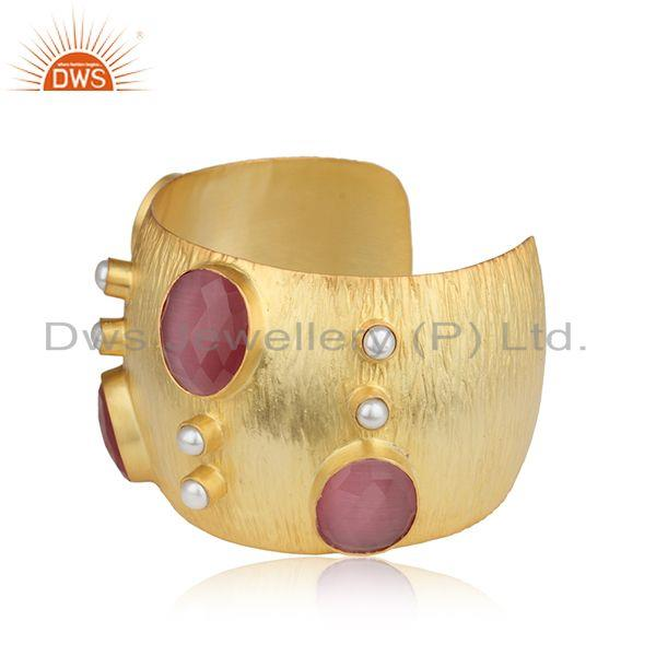 Designer fashion cuff with 18k gold over, pearl and pink moonstone