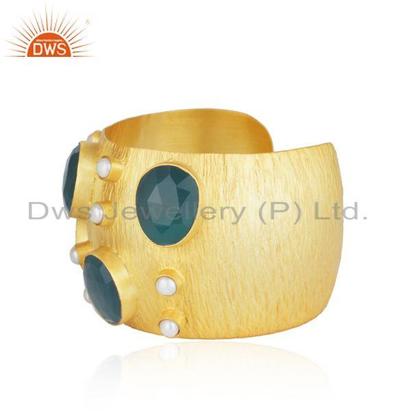 Exporter Gold Plated Brass Fashion Pearl and Green Onyx Gemstone Cuff Bangle