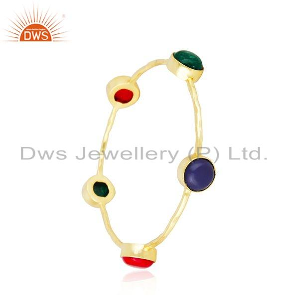 Supplier of Hydro and coral gemstone gold plated brass designer fashion bangles
