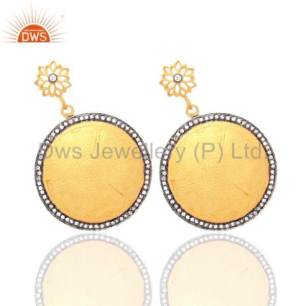 Exporter 18K Yellow Gold Plated Sterling Silver Cubic Zirconia Designer Disc Earrings