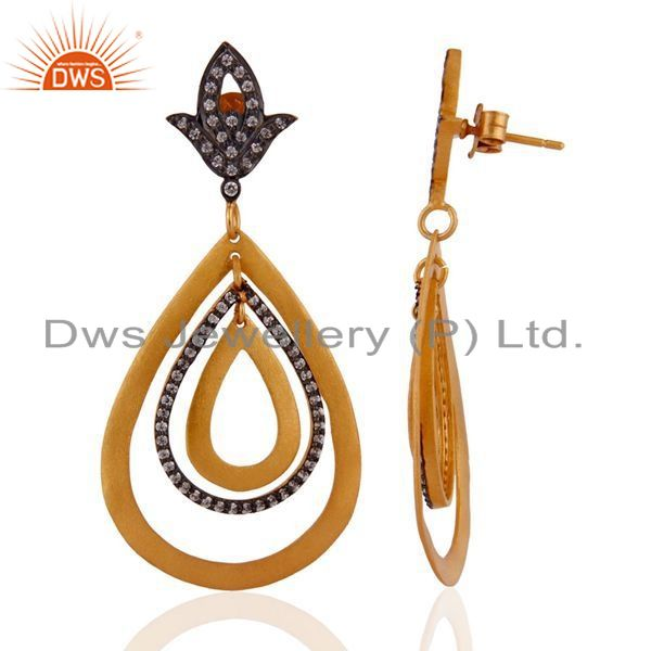 Exporter 18k Gold Plated With Matte Finish Handcrafted 925 Sterling Silver Dangle Earring