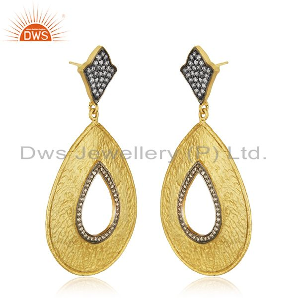 Exporter 22K Yellow Gold Plated Cubic Zirconia Designer Fashion Drop Dangle Earrings