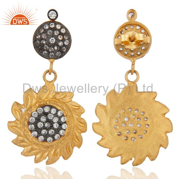 Exporter Gold Plated Sun Design Back Screw Dangle Earrings White Zircon Jewelry
