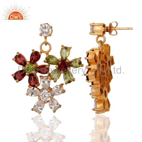 Exporter Garnet And Peridot 18K Yellow Gold Plated Designer Earrings With CZ