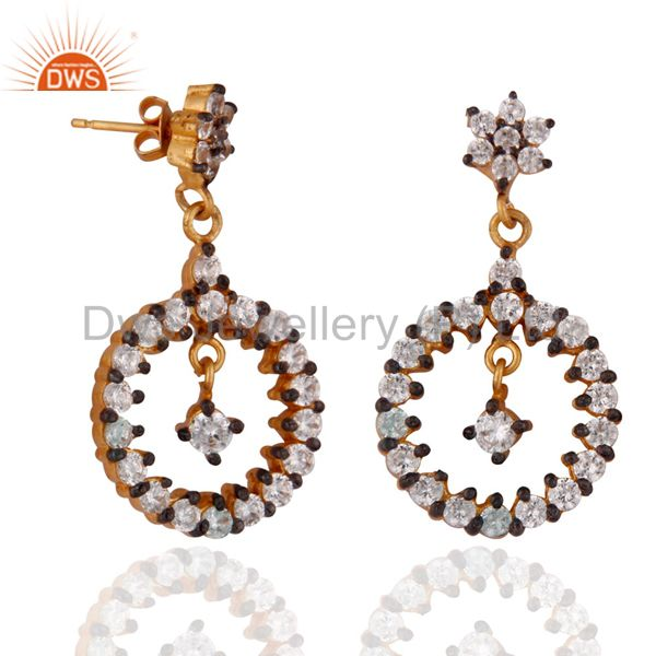 Exporter Gold Plated Stunning White Cubic Zirconia Fashion Dangle Earrings