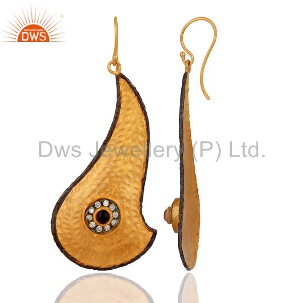 Exporter Gold Plated Handmade Textured Design Dangle Earrings With CZ