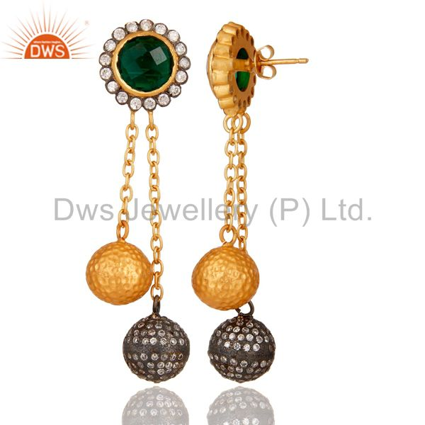 Exporter 22K Yellow Gold Plated Brass Green Hydro Chain Dangle Earrings With CZ
