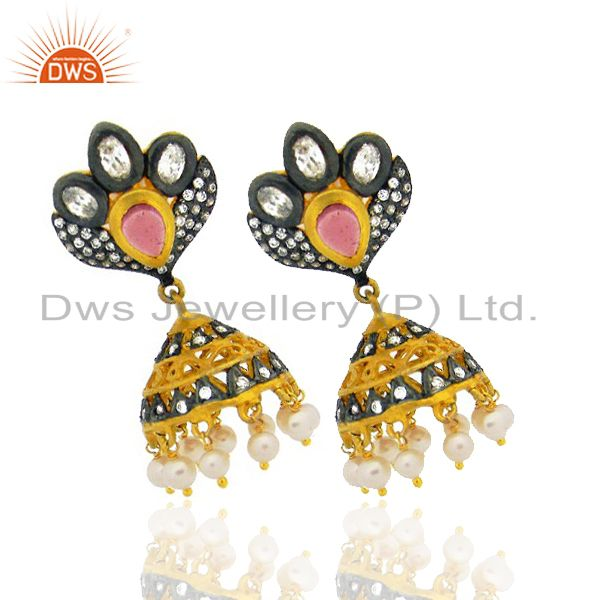 Exporter 22K Yellow Gold Plated Brass Pink Glass & Cubic Zirconia Jhumka Dangle Earrings