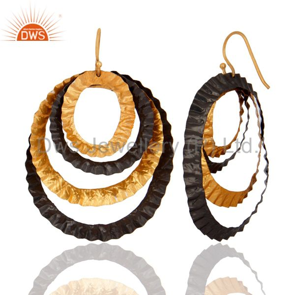 Exporter Oxidized And 18K Yellow Gold Plated Brass Hammered Three Circle Hook Earrings