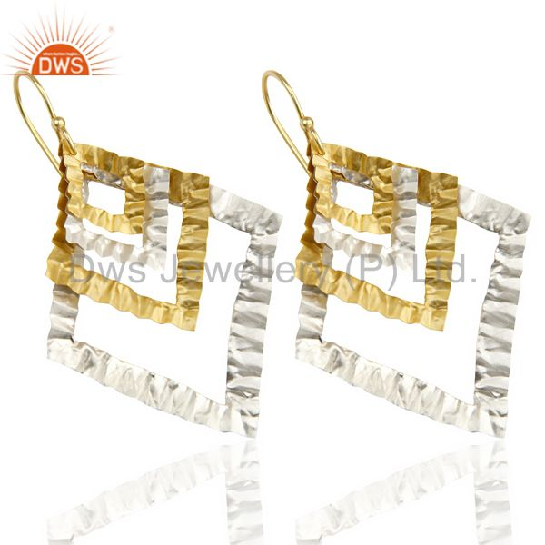 Exporter Indian Hammerad Silver Plated 18k Gold Plated Filigree Design Earrings Jewelry