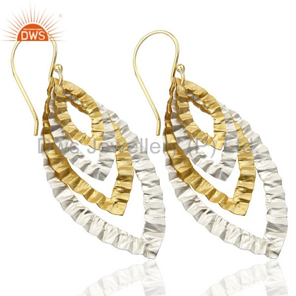 Exporter 14K Gold Plated Silver Plated Traditional Handmade Textured Dangle Earrings