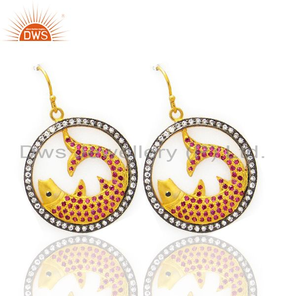 Exporter 22K Yellow Gold Plated Sterling Silver Cubic Zirconia Fish Design Dangle Earring