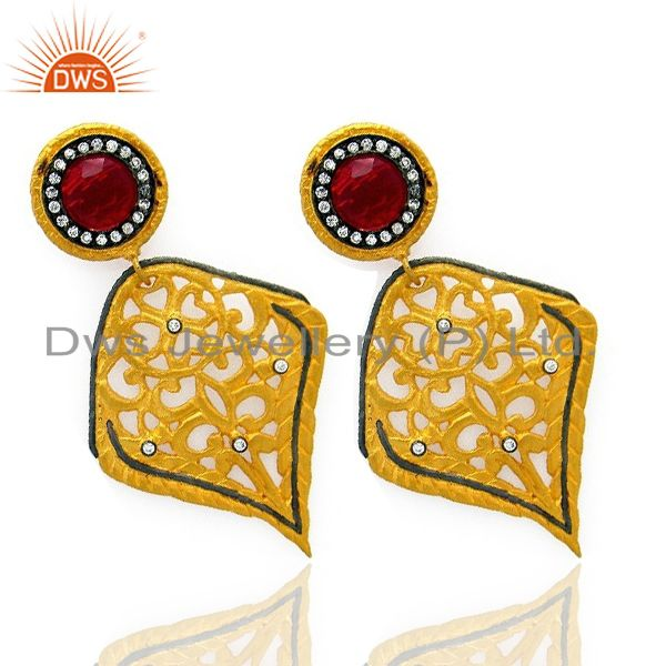 Exporter 18K Yellow Gold Plated Brass Pink Glass And Cubic Zirconia Dangle Leaf Earrings