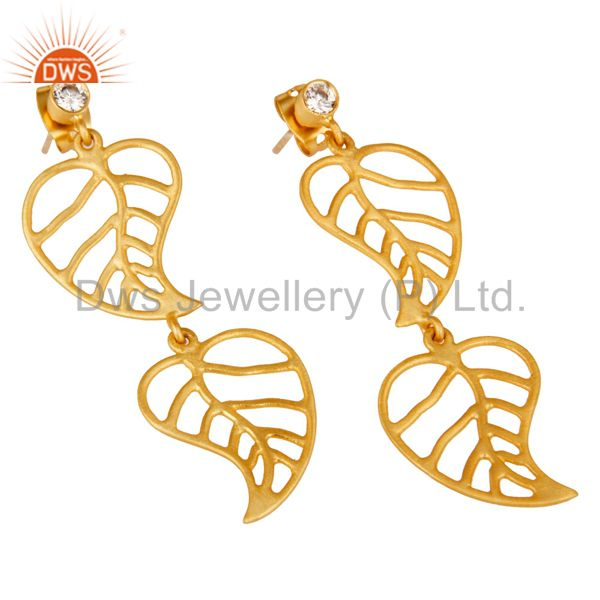 Exporter 24k Yellow Gold Plated Cubic Zirconia Handmade Leaf Designer Dangle Earrings