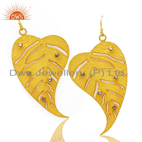 Exporter 22K Yellow Gold Plated Brass Cubic Zirconia Leaf Design Filigree Dangle Earrings