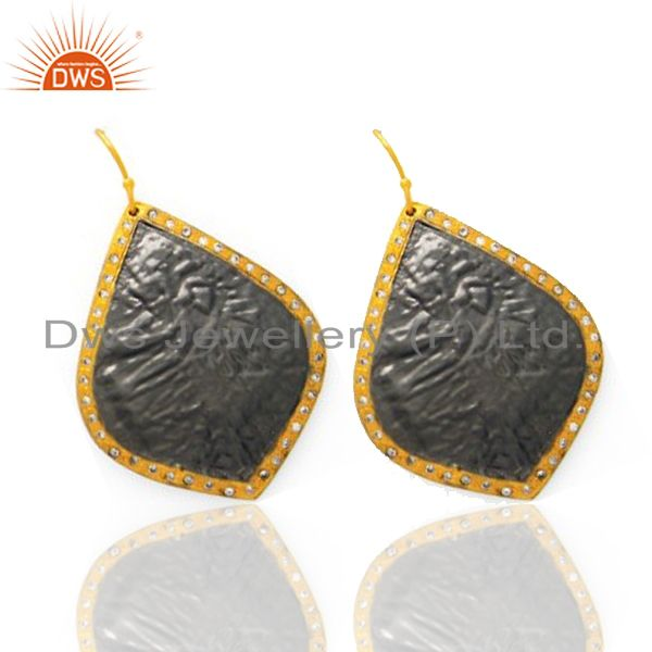 Exporter Oxidized And 22K Yellow Gold Plated Sterling Silver CZ Dangle Earrings