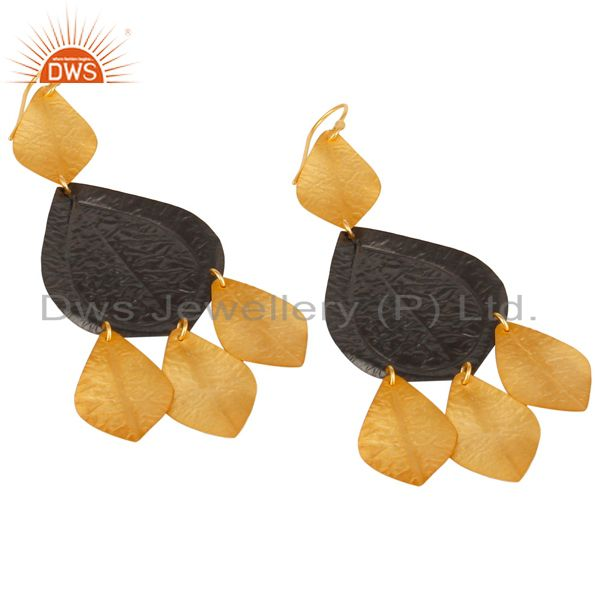 Exporter Oxidized And 22K Yellow Gold Plated Brass Fashion Chandelier Earrings